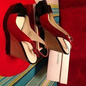 Authentic Calvin Klein Bonnie Patent heel shoe
